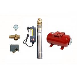 Sistem hidrofor, H60m, 45l/min, cu pompa IBO 3SKM 100, 0,75 kw, vas expansiune 24 litri, presostat, racord 5 cai, manometru