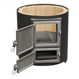 FM Group Ansamblu boiler inox 120 L cu focar cu usi din fonta FM