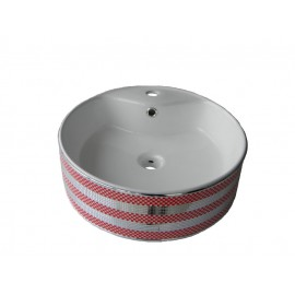 Lavoar pe blat ,ceramic Rotund - 47 cm , Cu preaplin si suport baterie C201