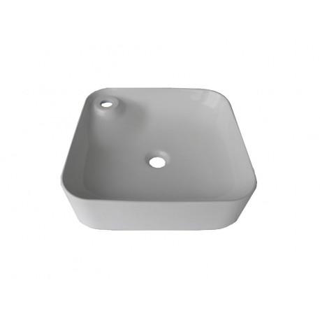 Lavoar ceramic Patrat - 43 cm Alb ,Montaj pe blat si suport baterie Y507