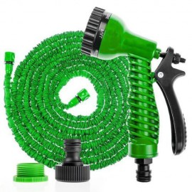 Furtun extensibil pentru gradina, 15 m, cu pistol de udat, verde