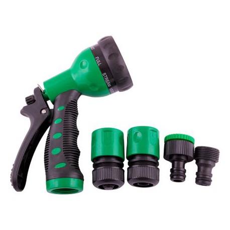 Set irigat gradina: pistol de stropit multijet cu patru accesorii Garden Pleasure, plastic, Verde / Negru
