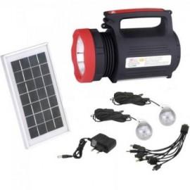 Lanterna LED 5W cu Acumulator, USB , Doua becuri pentru camping si Panou solar pentru incarcare 1902