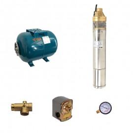 Sistem hidrofor, H60M, cu pompa 4SKm 100, 750W, Vas expansiune 24 Litri, Presostat, Racord 5 cai, Manometru