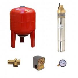 Sistem hidrofor, H60M, cu pompa 4SKm 100, 750W, Vas expansiune 36 Litri, Presostat, Racord 5 cai, Manometru