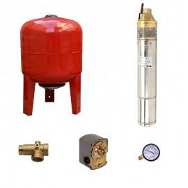 Sistem hidrofor, H107M, cu pompa 4SKm 150, 1.1kW, Vas expansiune 36 Litri, Presostat, Racord 5 cai, Manometru