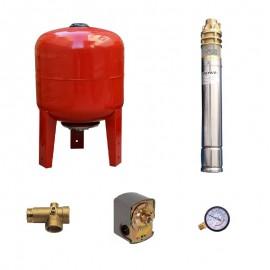 Sistem hidrofor, H60M, cu pompa 3SKm 100, 750W, Vas expansiune 36 Litri, Presostat, Racord 5 cai, Manometru