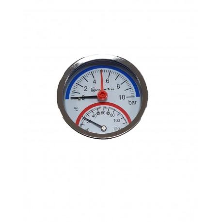 Termomanometru orizontal 10 bar / 120 gr