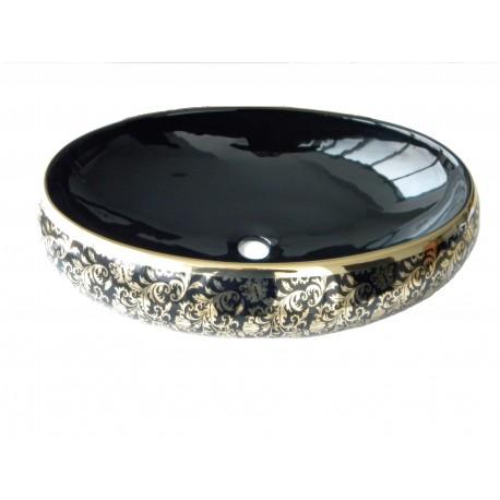 Lavoar ceramic Oval Negru - Auriu ,Montaj pe blat 5507A