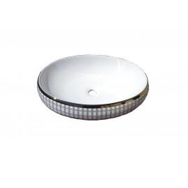 Lavoar ceramic Oval Alb - Auriu ,Montaj pe blat 8021