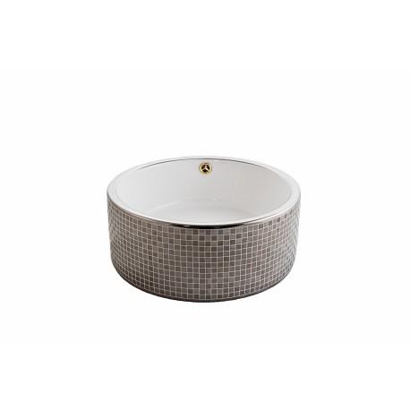 Lavoar ceramic Rotund-42 cm ,Montaj pe blat, Cu preaplin 5104 mozaic auriu